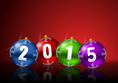 2015 new years greeting card with christmas balls photo