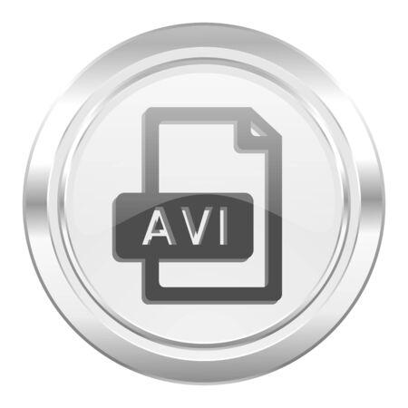 avi: avi file metallic icon Stock Photo