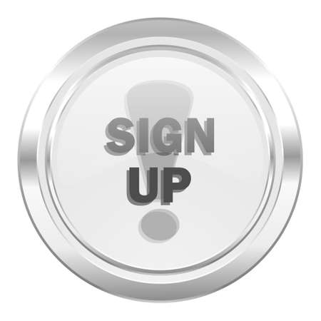 sign up: sign up metallic icon Stock Photo