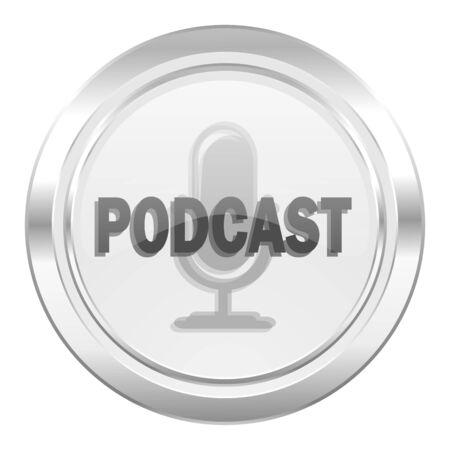 podcasting: podcast metallic icon Stock Photo