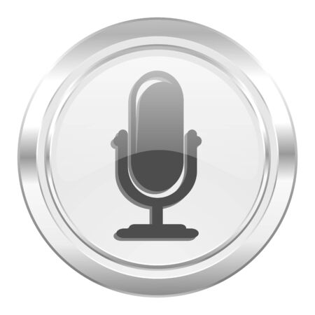 podcast: microphone metallic icon podcast sign Stock Photo