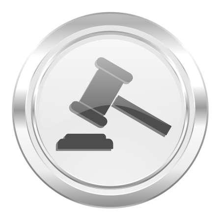 verdict: auction metallic icon court sign verdict symbol Stock Photo