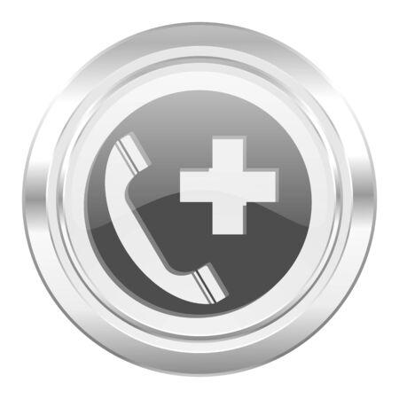 emergency call: emergency call metallic icon Stock Photo