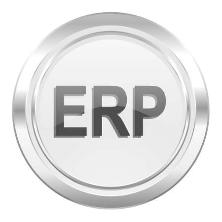 erp: erp metallic icon Stock Photo
