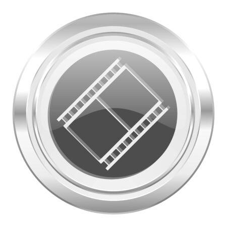 movie sign: met�lico pel�cula icono de pel�cula s�mbolo cine Foto de archivo