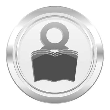 reading room: book metallic icon reading room sign bookshop symbol