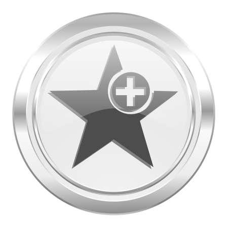 favourite: star metallic icon add favourite sign