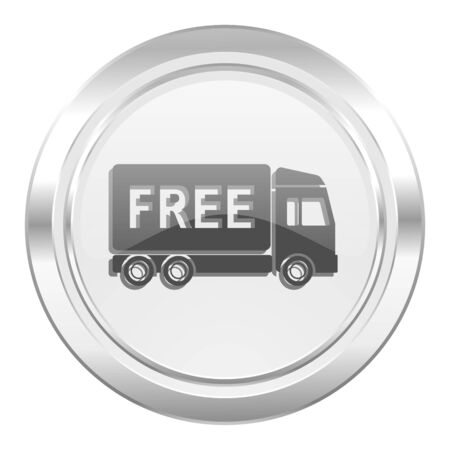 free delivery: free delivery metallic icon transport sign Stock Photo