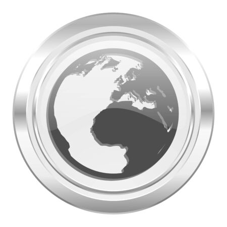 meridians: earth metallic icon world sign Stock Photo