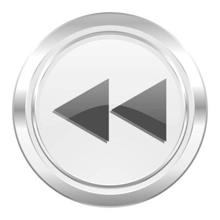 rewind: rewind metallic icon Stock Photo