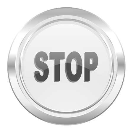 proscribed: stop metallic icon Stock Photo