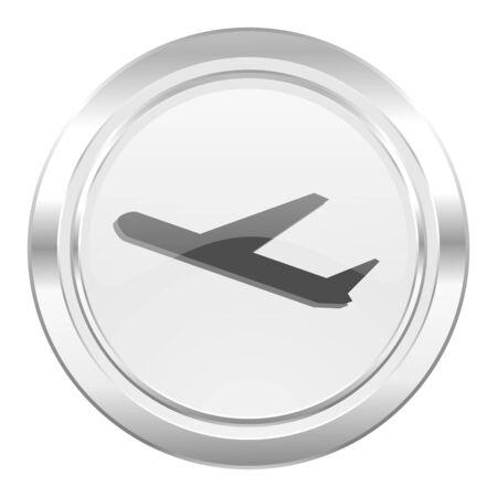 air port: deparures metallic icon plane sign Stock Photo
