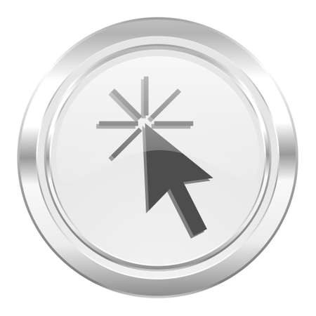 click here: click here metallic icon Stock Photo