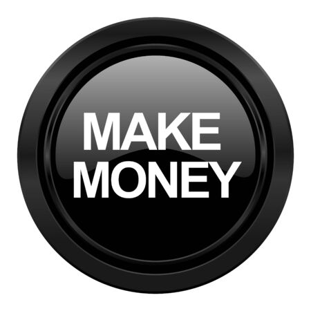 make money: make money black icon Stock Photo
