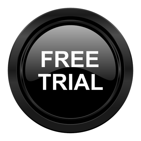 grant: free trial black icon Stock Photo