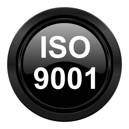 din: iso 9001 black icon Stock Photo