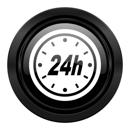24h: 24h black icon Stock Photo