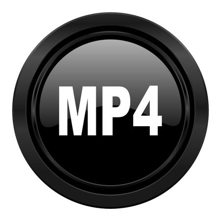 mp4: mp4 black icon Stock Photo