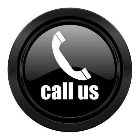 contact us icon: call us black icon phone sign Stock Photo