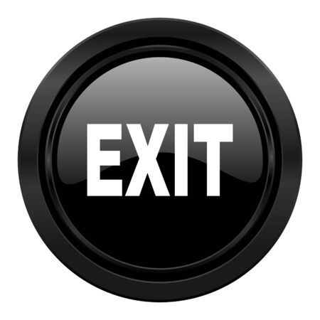 emergency exit label: exit black icon
