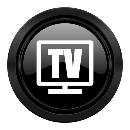 programm: tv black icon television sign Stock Photo