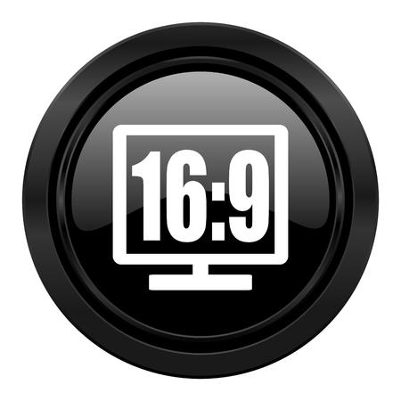 16 9 display: 16 9 display black icon Stock Photo
