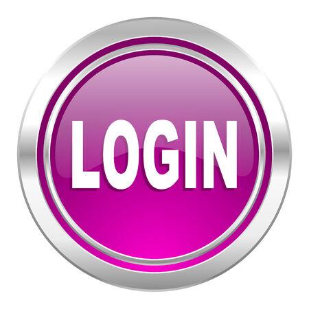 violet icon: login violet icon Stock Photo
