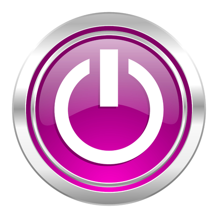 running off: power violet icon on off sign