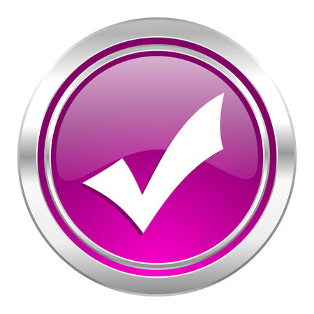 to accept: accept violet icon check sign Stock Photo