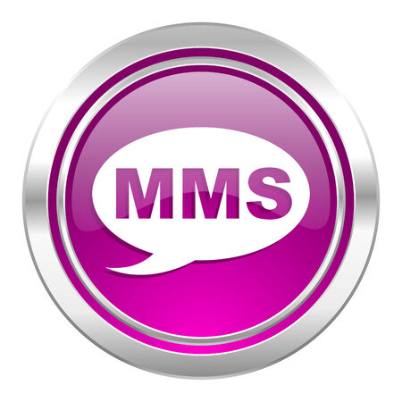 mms: mms violet icon message sign Stock Photo