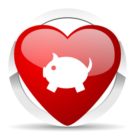 piggy bank valentine icon photo