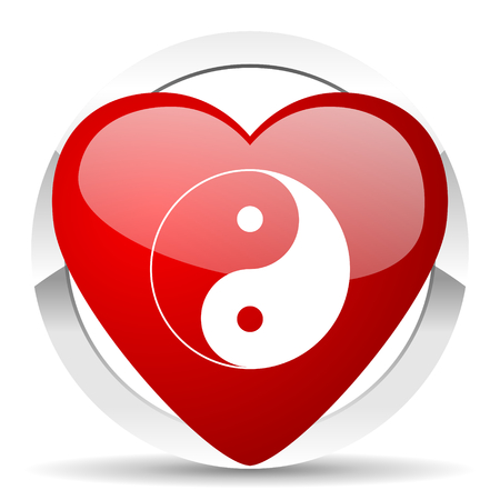 ying and yang: ying yang valentine icon Stock Photo
