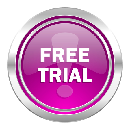 grant: free trial violet icon Stock Photo