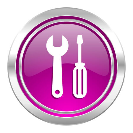 instrumentation: tools violet icon service sign Stock Photo