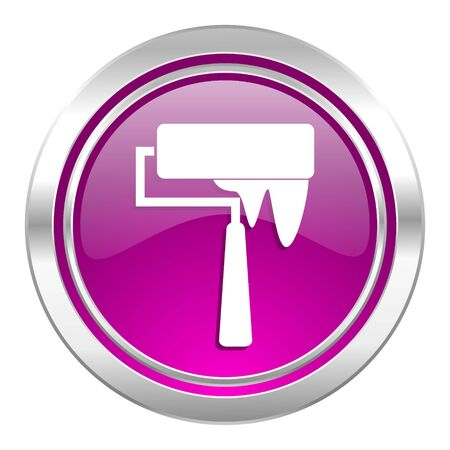 violet icon: brush violet icon paint sign Stock Photo