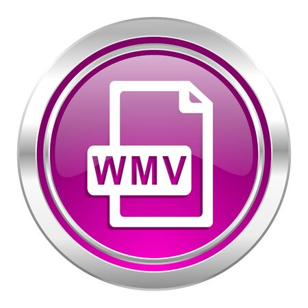 wmv: wmv file violet icon Stock Photo