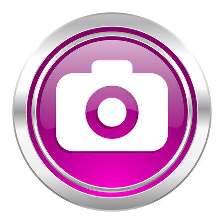 picto: photo camera violet icon photography sign Stock Photo
