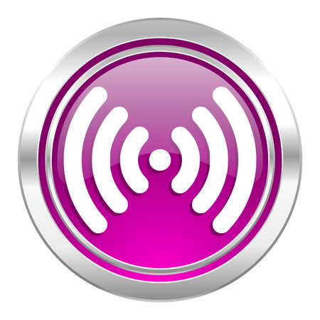 wifi violet icon wireless network sign photo