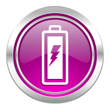 accuse: battery violet icon power sign Stock Photo