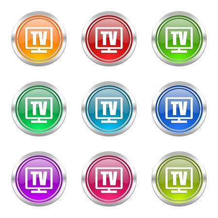 programm: tv icons set television sign