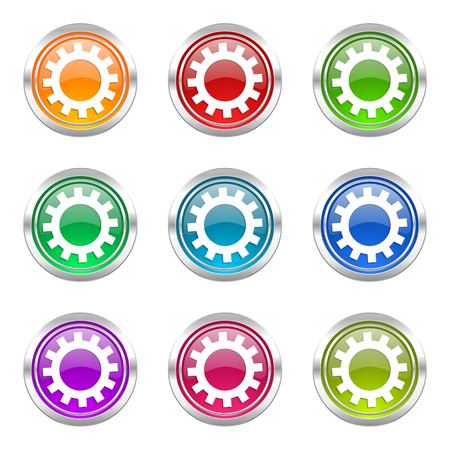 gears icons set options sign photo