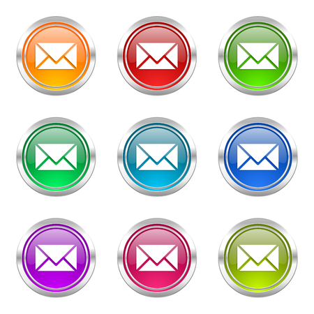 email icons set post sign photo