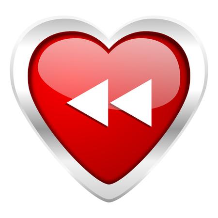 rewind: rewind valentine icon Stock Photo