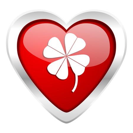 fourleaf: four-leaf clover valentine icon