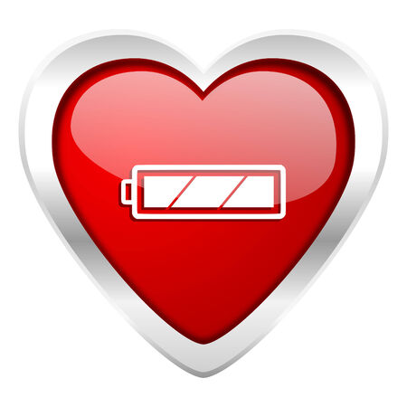 Battery Valentine Icon Charging Symbol Power Sign Stock Photo