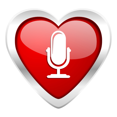 podcast: microphone valentine icon podcast sign Stock Photo