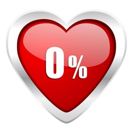 0 percent valentine icon sale sign photo
