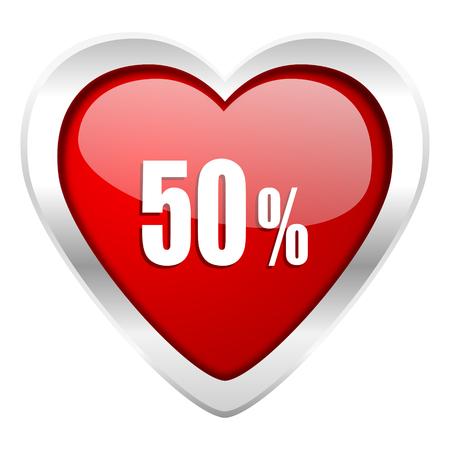 50 percent valentine icon sale sign photo