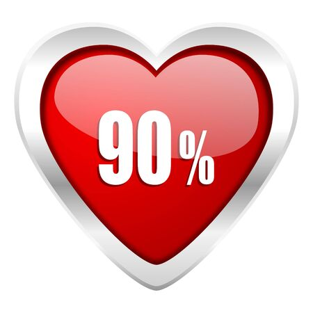 decreasing: 90 percent valentine icon sale sign