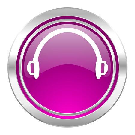 violet icon: headphones violet icon Stock Photo